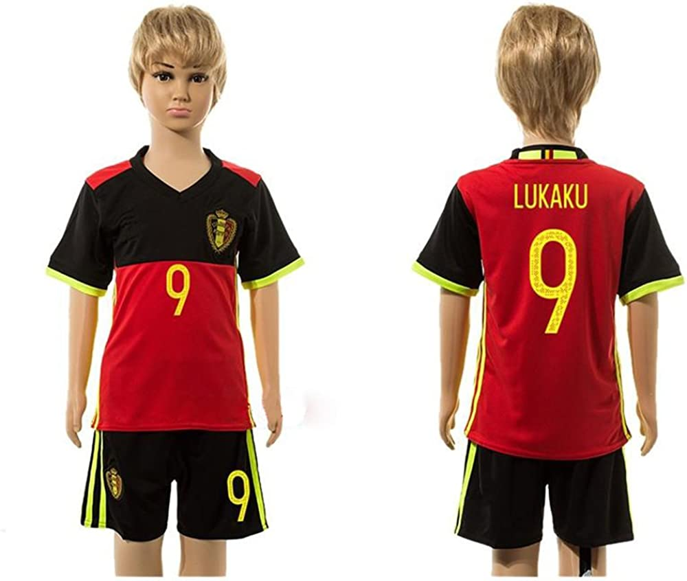 2016 2017 For Fans Belgium 9 Romelu Lukaku Home For Children Kid Youth Football Soccer Jersey Sets In Red