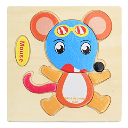 Alician Toy Children Cartoon Wooden Intelligence Jigsaw Puzzle Toy Animal Transportation Cognize Hands Grip Toy Mouse