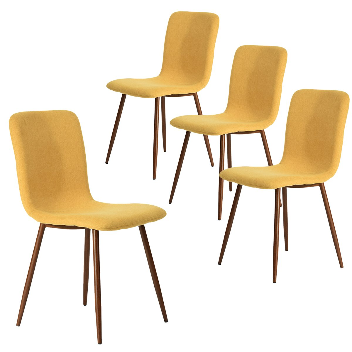 Coavas Set of 4 Dining Chairs Fabric Cushion Kitchen Side Chairs with Sturdy Metal Legs for Dining Room, Yellow by Coavas