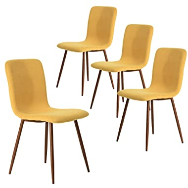 Coavas Set of 4 Dining Chairs Kitchen Fabric Cushion Side Chairs with Sturdy Metal Legs for Dining Living Room Table, Yellow