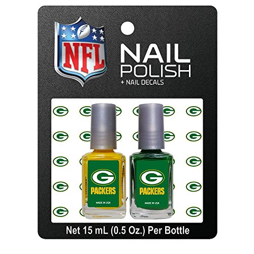 Officially Licensed NFL Green Bay Packers Nail Polish with Decals by Worthy Promotional