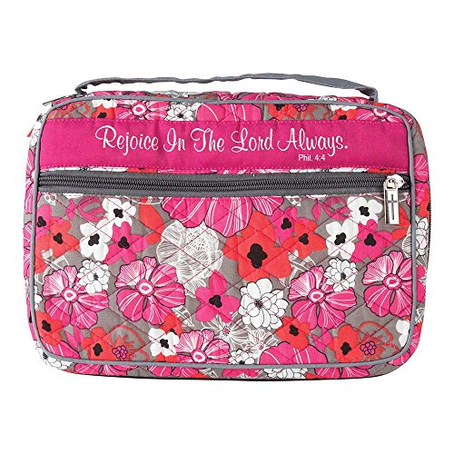 Thinline Bible Cover - Rejoice In The Lord Always Pink Floral Quilted Cotton Thinline Bible Cover Case