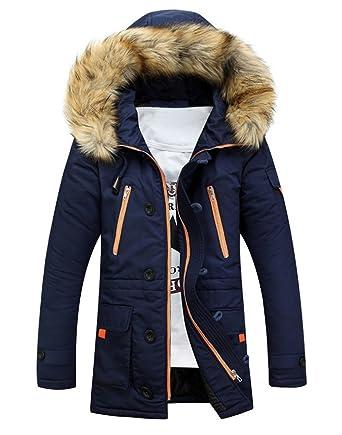 Brinny Homme Hiver Long Manteau à Capuche Col de Fourrure Épaisse Chaud  Hoodies Parka Blouson Pardessus 5f0c54edb418