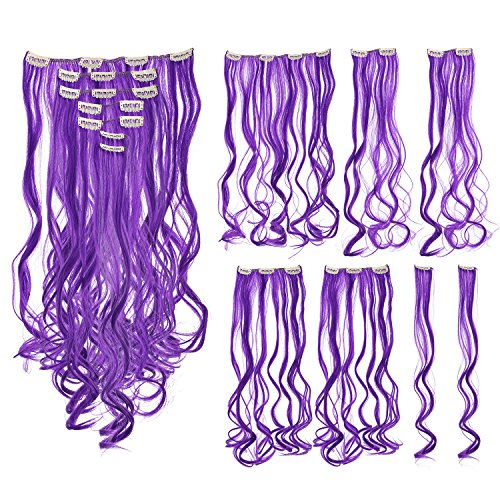 SWACC 7 Pcs Full Head Party Highlights Clip on in Hair Extensions Colored Hair Streak Synthetic Hairpieces (20-Inch Curly, -