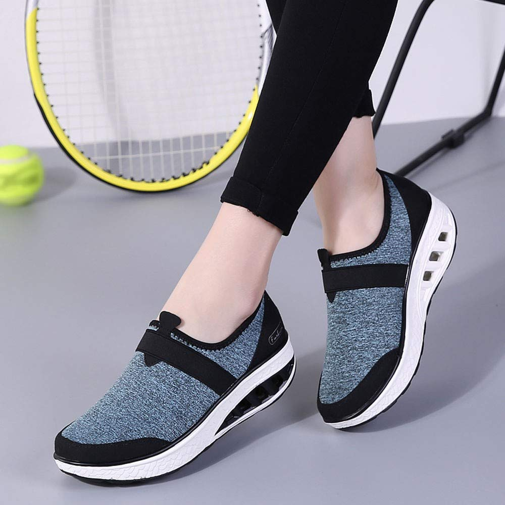 FORUU Womens Casual Shoes Increased Thick-Soled Rocking Shoes Wedge Sneakers