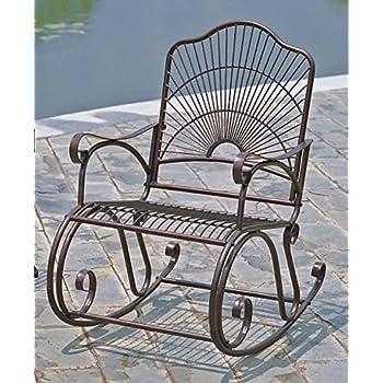 Iron Bronze Patio Rocking Chair