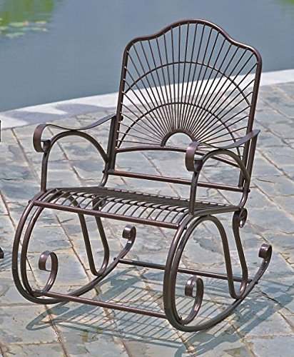 International Caravan Iron Bronze Patio Rocking Chair