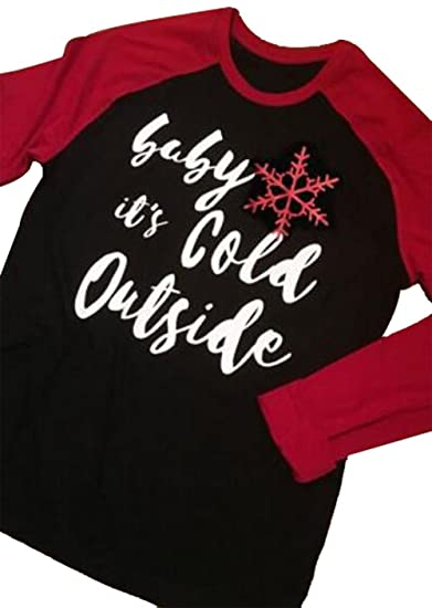 baby its cold outside christmas t shirt plus size women splicing sleeve crewneck blouse top