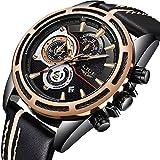 Watches Men Luxury Brand LIGE Chronograph Waterproof Luminous Sports Analog Quartz Watch Man Fashion Casual Gold Black Leather Wristwatch