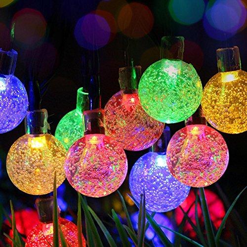 Stoog Ball Solar Led String Lights Globe Bulbs Fairy Bubble Lamp Vintage Starry Decorations for Christmas Tree Wedding Party Garden Bedroom 20 Feet 30 pcs (multicolored-globe)