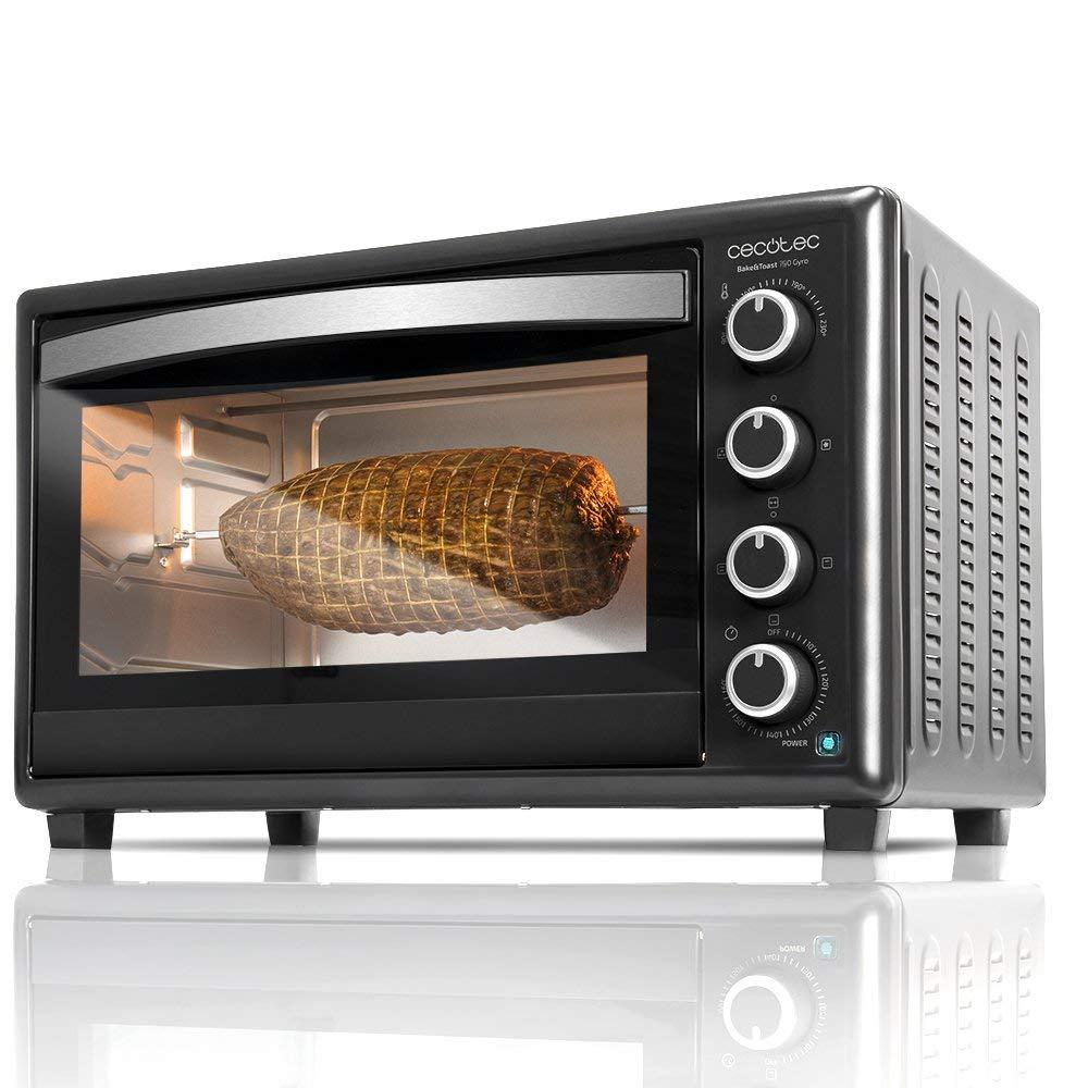 Cecotec Horno Conveccion Sobremesa Bake&Toast 750 Gyro. Capacidad de 46 litros, 2000 W, 12 Modos, Temperatura hasta 230ºC y Tiempo hasta 60 Minutos, Incluye Accesorio Rustidor con pinzas