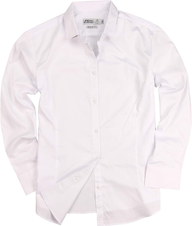 Urban Boundaries Womens Basic Tailored Long Sleeve Cotton Button Down Work Shirt