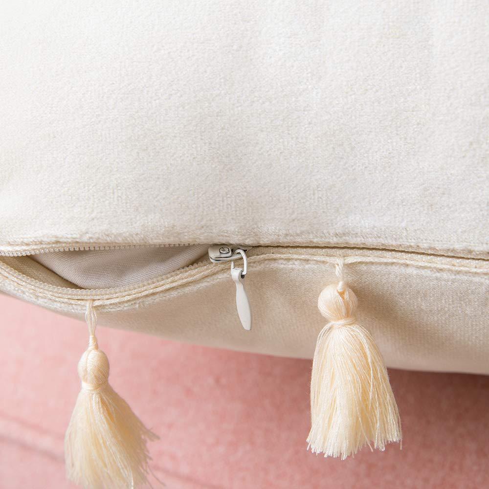 MIULEE 2er Set Samt Kissenbezug Quaste Kissenh/ülle Dekorative Tassel Dekokissen mit Verstecktem Rei/ßverschluss Sofa Schlafzimmer Auto 18 x 18 Inch 45 x 45 cm