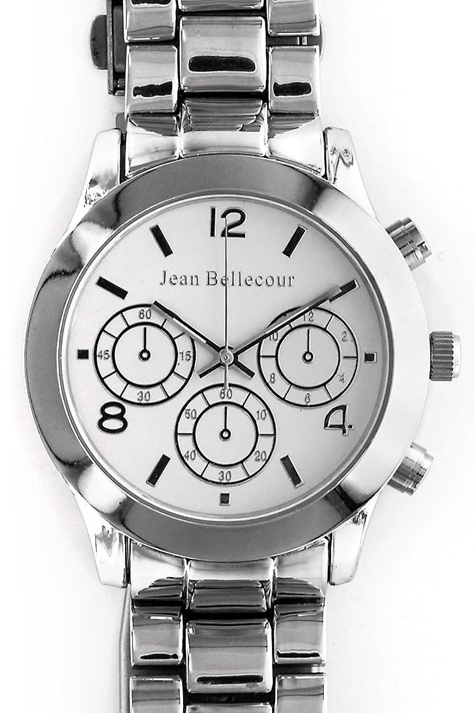 Jean Bellecour – reds11-sw – Armbanduhr – Quarz Analog – Weißes Ziffernblatt – Armband Stahl versilbert