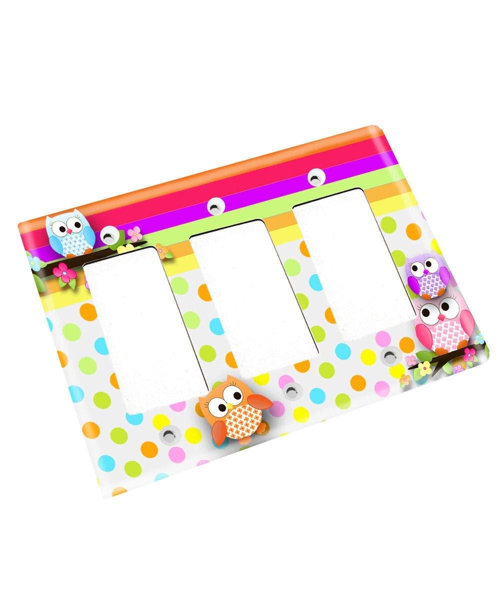 Polka Dot Owl Girls Nursery Bedroom Single Light Switch Cover LS0072 (Triple Decora)