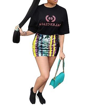 02007f3ff4b9 Women's Sexy Rainbow Sequin Tube Mini Skirt High Waist Sparkly Tight Bodycon  Short Skirt (S