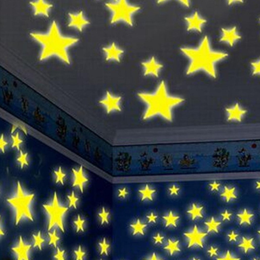 Fluorescent Glow Stars Wall Stickers,100PC,Kids Bedroom Decor,Tuscom (100PC Yellow)