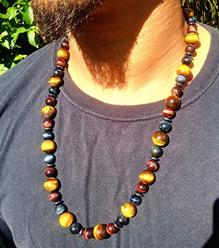 (Handmade Multicolor Tiger Eye Necklace 26 Inches Natural Gemstone (AURAS BY OSIRIS))