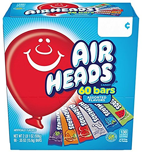Airheads Bars, Chewy Fruit Candy, Variety Pack, Non Melting, 60 Count (Packaging May Vary) by Airheads