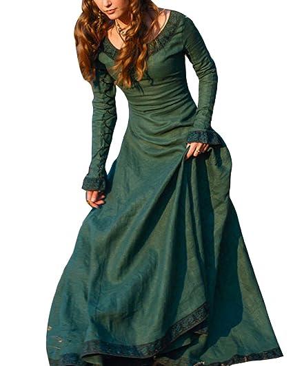 Disfraz De Medieval Para Mujer Vestido Gótico Vintage Vestido Medieval Traje De Cosplay Princesa Renacimiento Verde 3XL