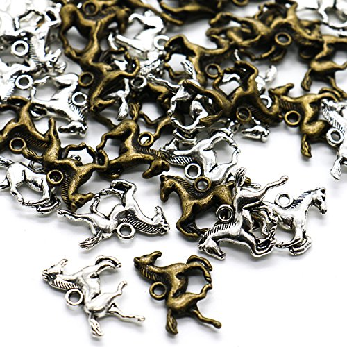 Horse Charm Jewelry - IDS Pack of 40 Horse Charms Findings Supplies for Jewelry Necklace Bracelet Making - 20 Silver Tone & 20 Bronze Tone