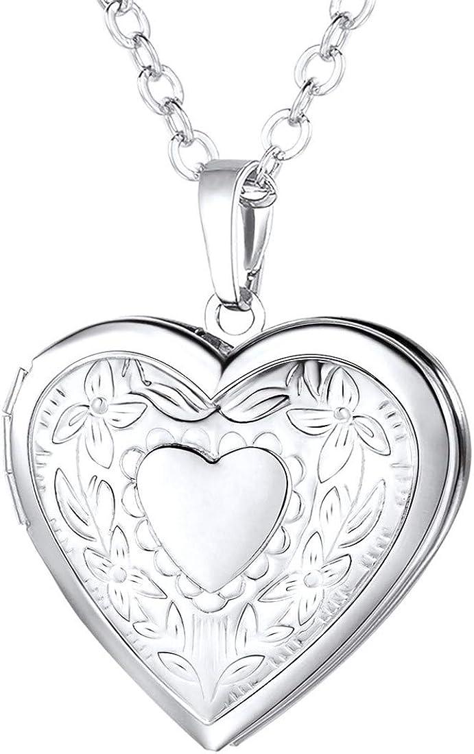 U7 Women Girls Locket Necklace Platinum 18K Gold Photo Lockets That Hold Picture,Chain 20 Inch Birthday Custom Love Heart Image Necklaces