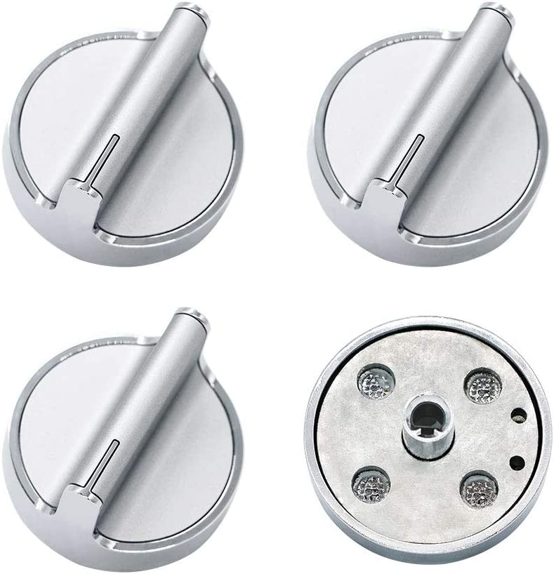 AMI PARTS Surface Burner Knob Control Knob W10594481 Range Knob(long shaft) Compatible with Whirlpool Stove(4pack)