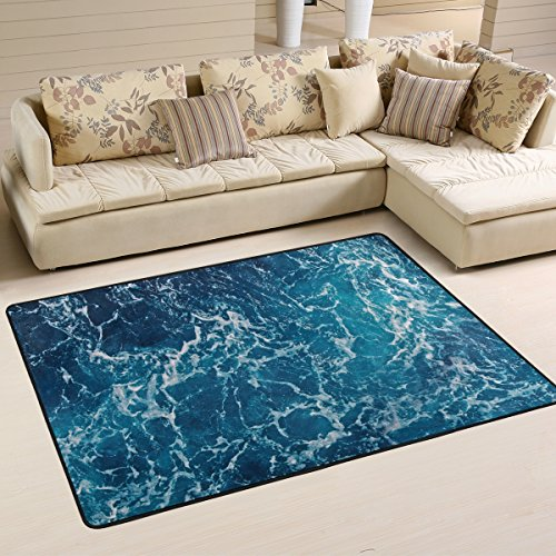 Naanle Ocean Beach Theme Area Rug 4'x6', Sea Waves Polyester Area Rug Mat Living Dining Dorm Room Bedroom Home Decorative