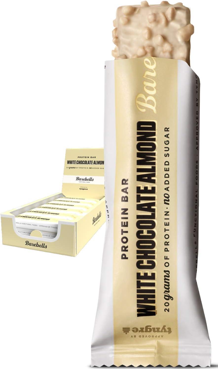 Barritas de Proteínas Barebells White Chocolate Almond (Sabor Chocolate Blanco y Almendras) 12 Barritas x 55g, Rica en Proteínas, Bajo en ...