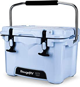 BougeRV Ice Chest, 11 Quart Portable Rotomolded Cooler with 2 Days Ice Retention, Versatile Insulated Cooler with Bottle Opener & Cup Holders, Excursion Hard Sided Cooler for Backyards, Picnics