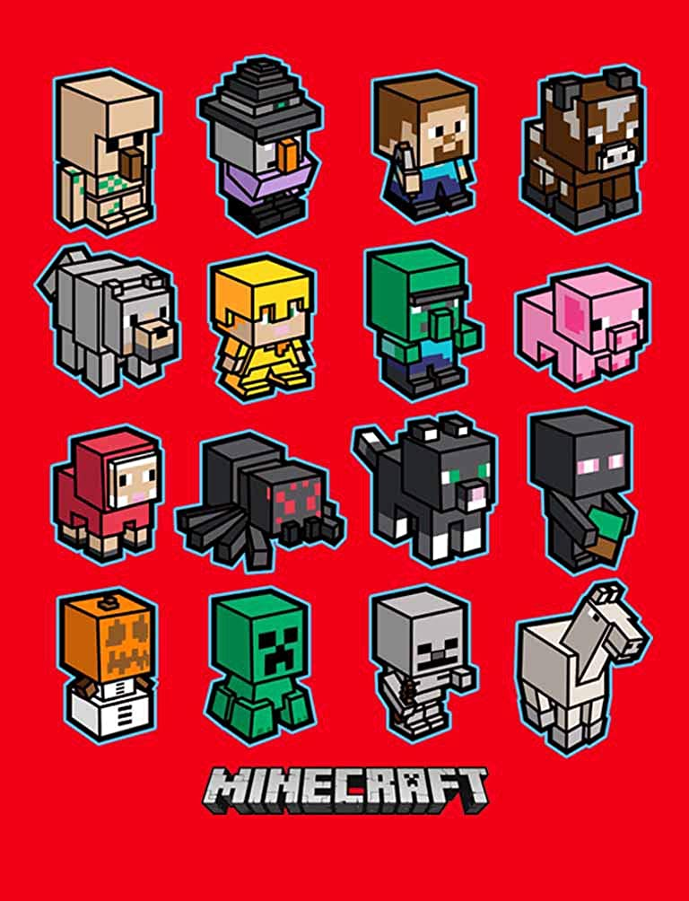 Minecraft Shirt for Boys with Mini Mobs Charged Characters