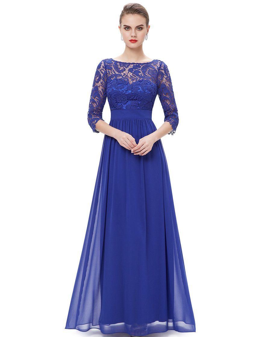 Ever-Pretty Womens Three-Quarter Lace Sleeves Floor Length Bridesmaid Dress 16 US Saphire Blue