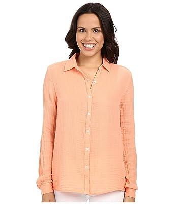 Amazon.com: Three Dots Women's Gauze Button-Front Shirt: Clothing