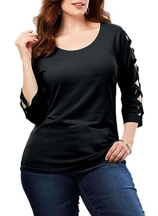 e5a549e1 Dearlove Women's Plus Size 3/4 Sleeve Tops Tee Scoop Neck Loose Casual T  Shirt