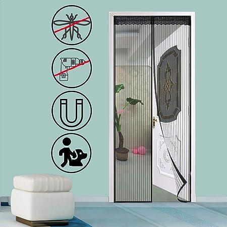 GOUDU Mosquitera Puerta Magnetica Mosquiteras Enrollables con Durable Cierre magnético Que se Cierra automáticamente para Puertas Correderas - Negro 100x205cm(39x81inch): Amazon.es: Hogar
