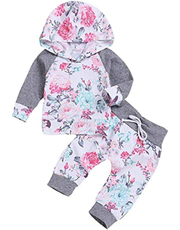 ClodeEU Toddler Infant 2PCs Rabbit Ear Hooded Sweatshirt Tops Camouflage Pants Autumn Winter Outfits for Baby Girls 0-24 Months