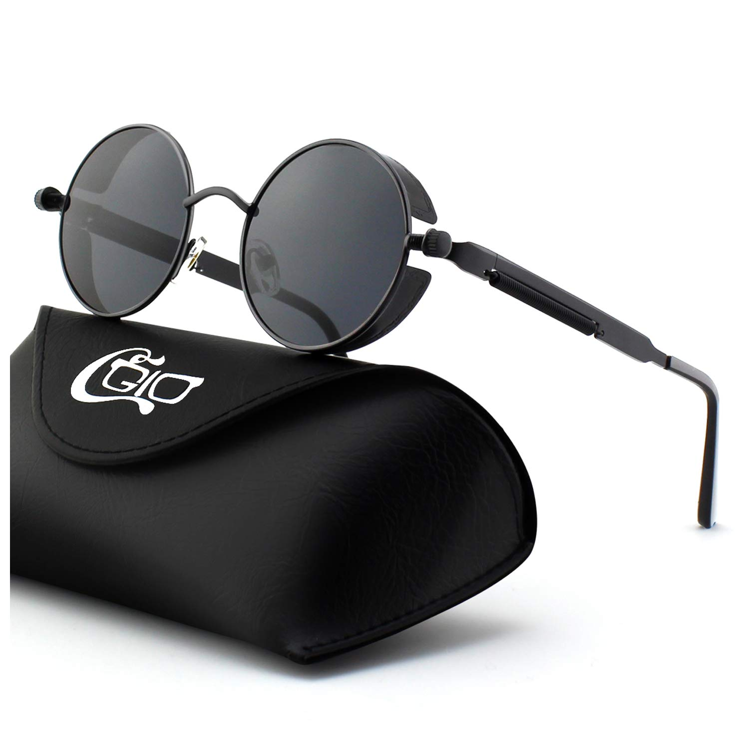 6e1d5269468 CGID E72 Retro Steampunk Style Unisex Inspired Round Metal Circle Polarized  Sunglasses for Men and Women
