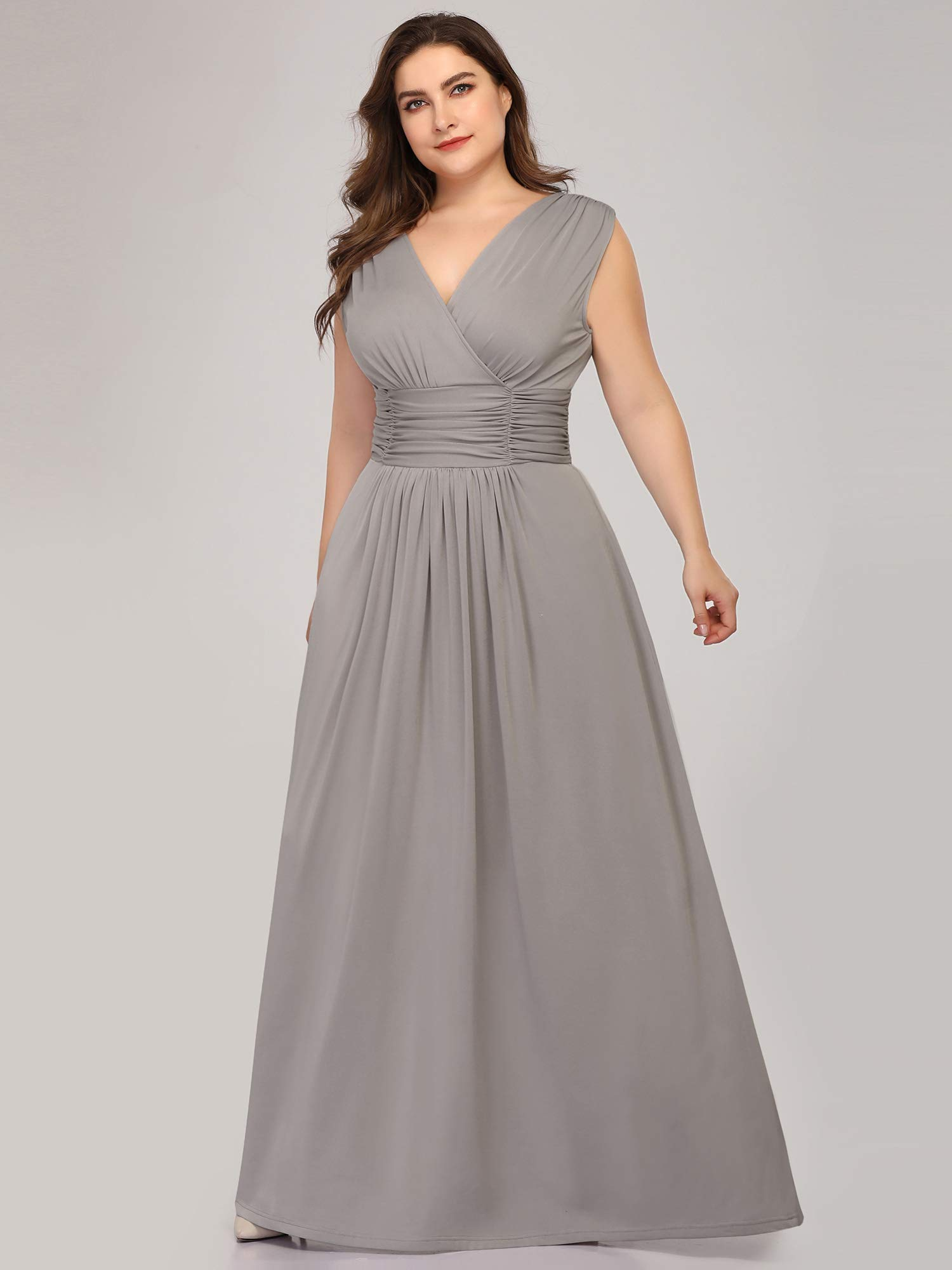 Ever-Pretty Women\'s Plus Size Bridesmaid Dress Wedding Party Maxi Dress  Gray US22