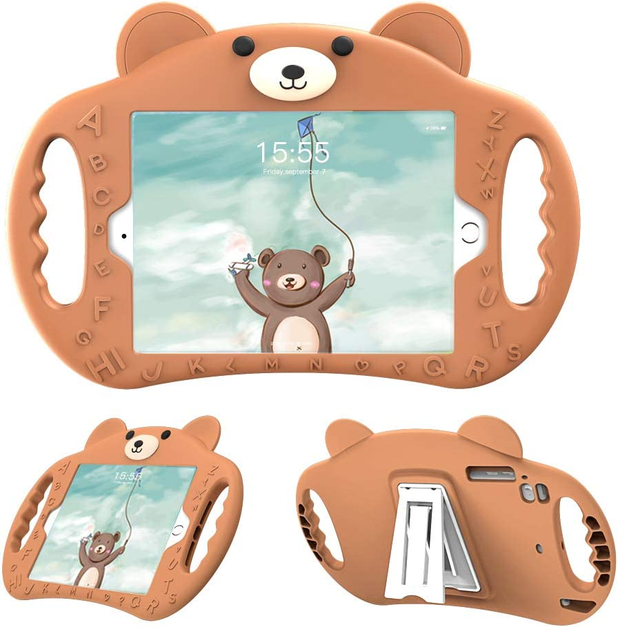 pzoz Case Compatible for iPad Mini Case for Kids Shockproof Silicone Handle Stand Proof Boys Bear Cover for Apple iPad Mini 1st Generation Gen 7.9 1 2 3 4 Model A1432 A1455 A1489 A1490 A1538 (Brown)