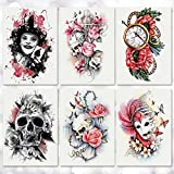 Leoars Halloween Temporary Tattoos, Large Bright Rose Skull Tattoos Sticker, Adult Temporary Tattoos for Parties Halloween Cosplay Makeup, 6-Sheet