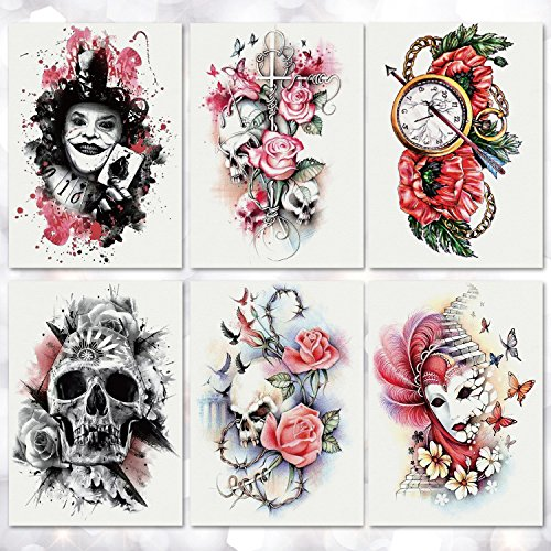 Leoars 6 Sheets Halloween Bright Rose Skull Tattoo Sticker Waterproof Large Temporary Tattoos for Men Girls Women Makeup Body Art Fake Tattoo