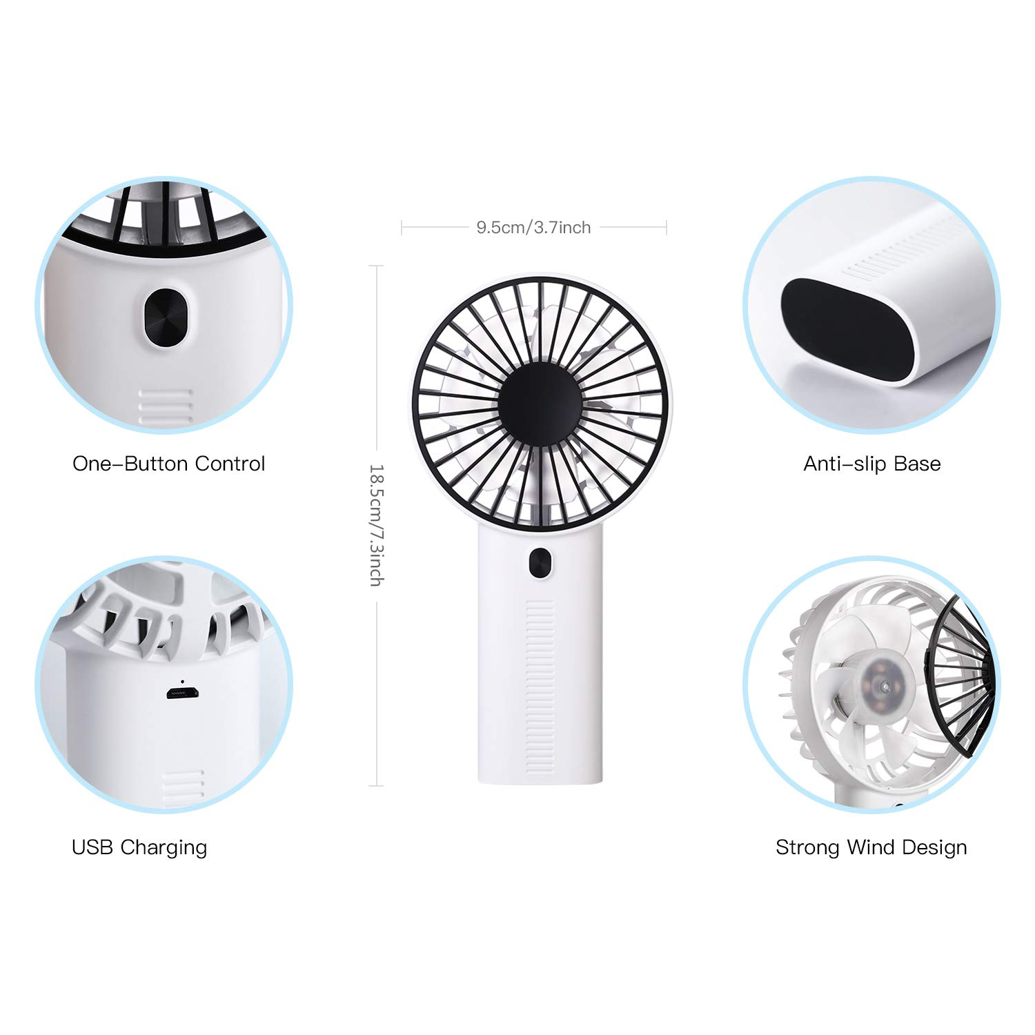 Blue AlfaView Mini Personal Fan 3 Speed Portable USB Charging Air Cooloing Desktop Mobile Phone Holder Mini Fan for Outdoor Home Office Travel