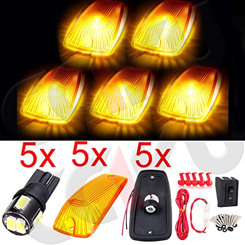cciyu 5 Pack Amber Top Cab Roof Running Light Marker Lens with Base Housing +5x 6-5730SMD White Led Light +Wiring pack Replacement fit for 1988-2000 GMC C/K