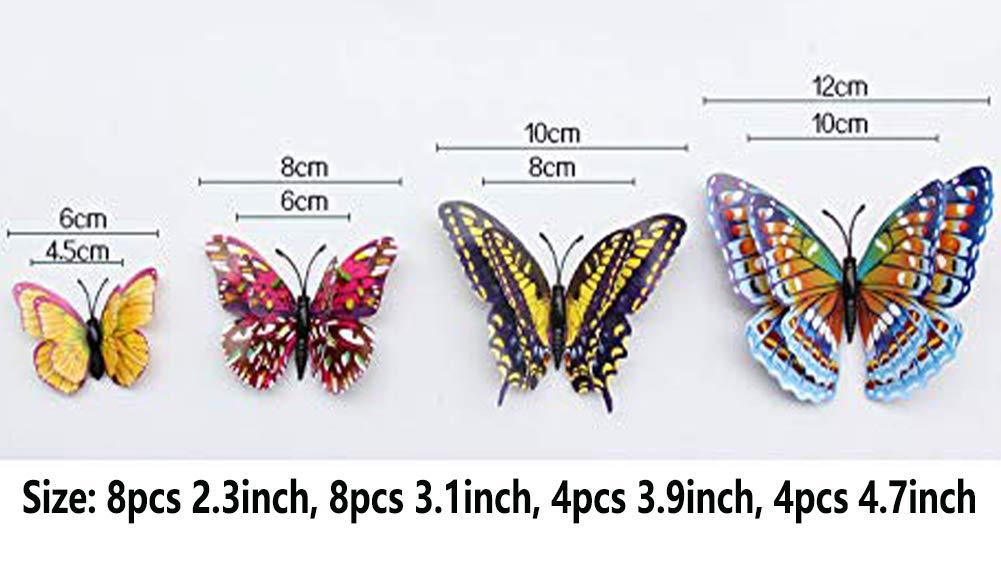 24 PCS Luminous Butterfly Wall Decals 3D Luminous Butterflies Wall Stickers Decor Removable DIY Home Art Decorations Butterfly Mural Design for Girls Kids Room Bedroom Decor Butterflies Wall Set