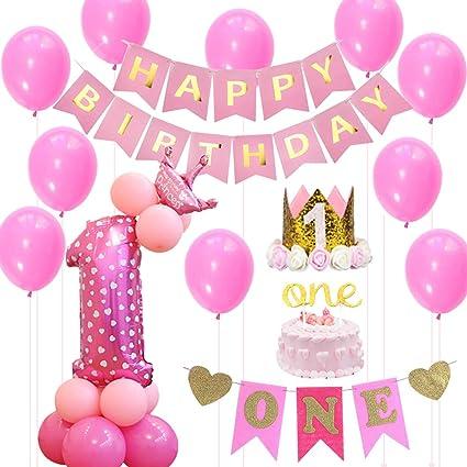 Amazon.com: 1 cumpleaños niña decoraciones con purpurina ...
