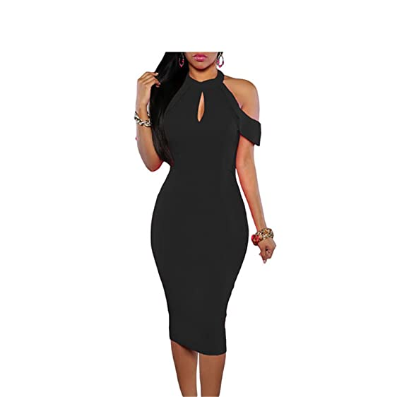 Eloise Isabel Fashion dress mulheres recorte halter sexy magro sexy night club halterneck skinny bodycon dress