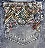Miss Me Women's Bead Embellished Mid Rise Boot Cut Jean, Light Blue, 27