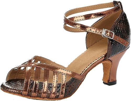 TDA Womens Kitten Heel T-Strap Appliques Sequins Synthetic Tango Ballroom Salsa Latin Dance Wedding Shoes