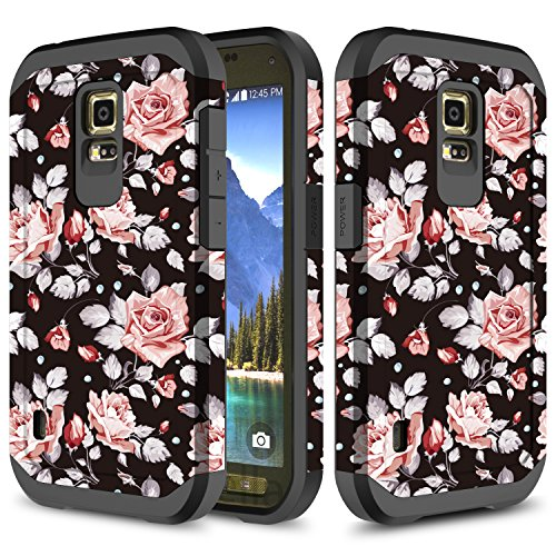 Galaxy S5 Active Case, TownShop Hard Impact Dual Layer Shockproof Bumper Case for Samsung Galaxy S5 Active G870A - Pink Rose (Phone Case For Galaxy S5 Active)