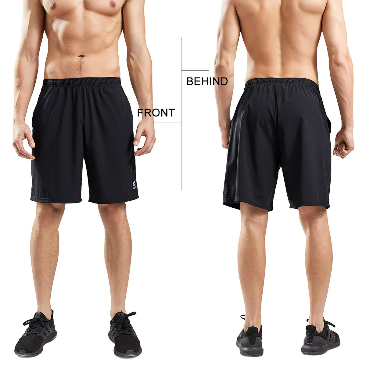 SS COLOR FISH Men Athletic Shorts with Pockets L Black